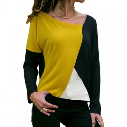 Stitching Contrast Color Round Neck Casual Long-sleeved T-shirt WH-29BK