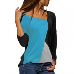 Stitching Contrast Color Round Neck Casual Long-sleeved T-shirt WH-29BL