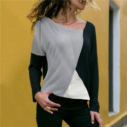 Stitching Contrast Color Round Neck Casual Long-sleeved T-shirt WH-29GR