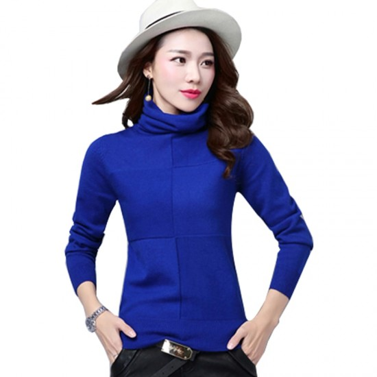Women's Check Patched High Neck L-Sleeve Sweater WH-26BL