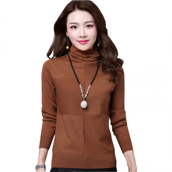 Women's Check Patched High Neck L-Sleeve Sweater WH-26BR image