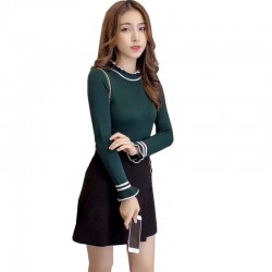 Frilled Stand Neck Ribbed Mini Sweater WH-27GN