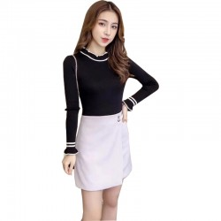 Frilled Stand Neck Ribbed Mini Sweater WH-27BK