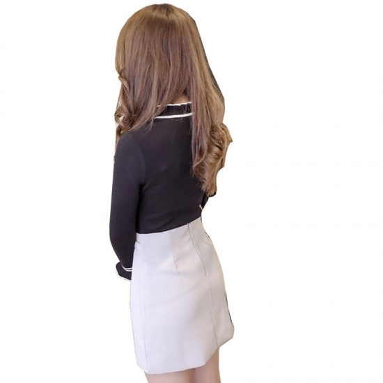Frilled Stand Neck Ribbed Mini Sweater WH-27BK image