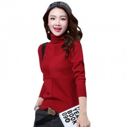 Women's Check Patched High Neck L-Sleeve Sweater WH-26RD