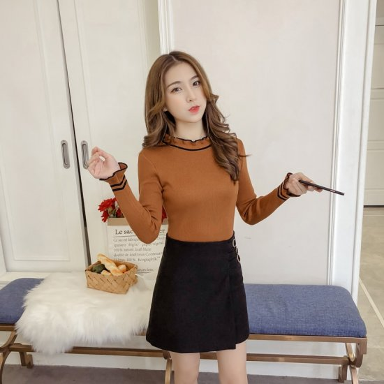Frilled Stand Neck Ribbed Mini Sweater WH-27BR image