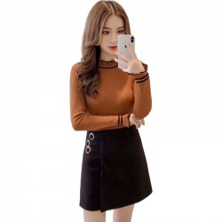 Frilled Stand Neck Ribbed Mini Sweater WH-27BR