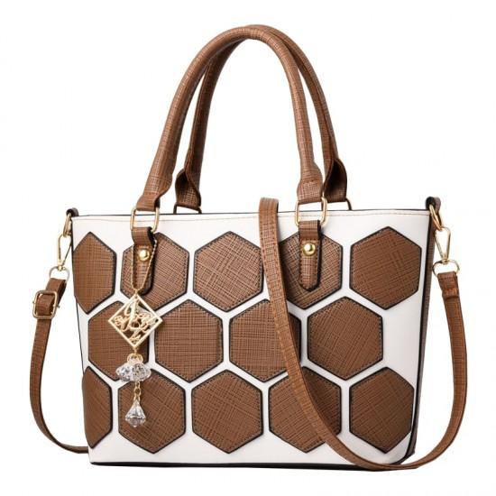 Hexagonal Pattern Brown Shoulder Bucket Bag WB-62BR image