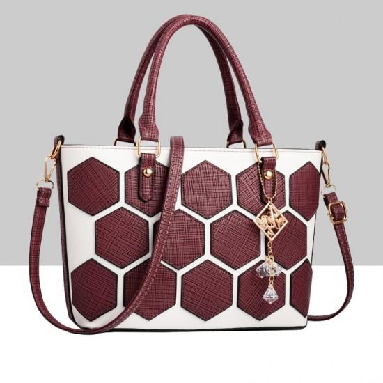 Hexagonal Pattern Maroon Shoulder Bucket Bag WB-62RD image