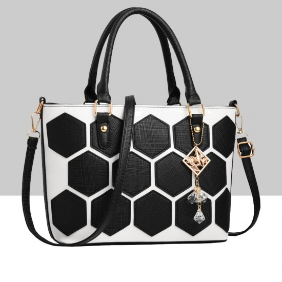 Hexagonal Pattern Black Shoulder Bucket Bag WB-62BK image