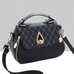 Patchwork Black Side Zips Shoulder Handbag WB-63BK