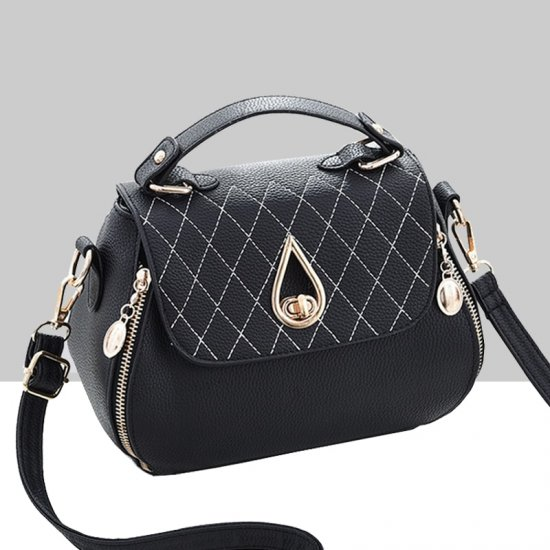 Patchwork Black Side Zips Shoulder Handbag WB-63BK image