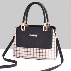 Checks Prints Black Contrast Shoulder Handbag WB-67BK