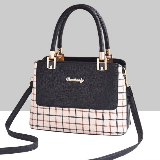 Checks Prints Black Contrast Shoulder Handbag WB-67BK |image