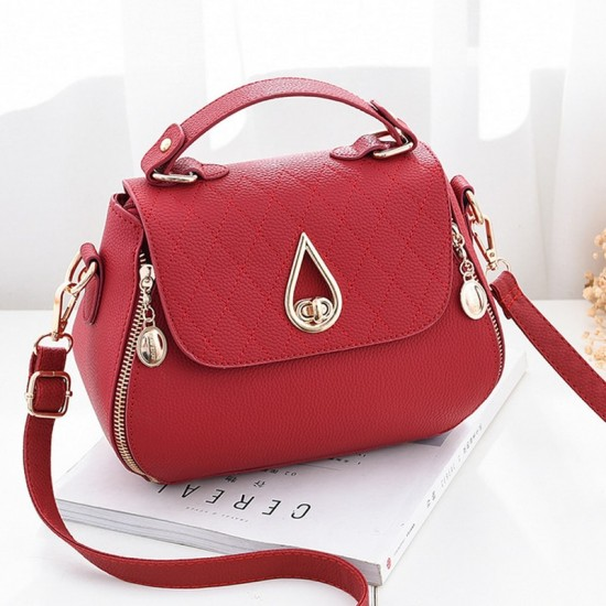 Patchwork Red Side Zips Shoulder Handbag WB-63RD image