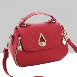 Patchwork Red Side Zips Shoulder Handbag WB-63RD