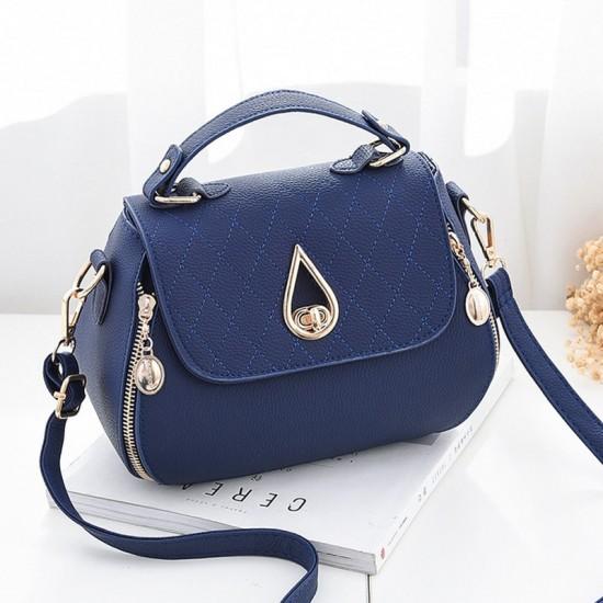 Patchwork Blue Side Zips Shoulder Handbag WB-63BL image