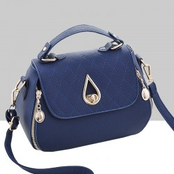 Patchwork Blue Side Zips Shoulder Handbag WB-63BL