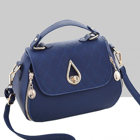 Patchwork Blue Side Zips Shoulder Handbag WB-63BL image