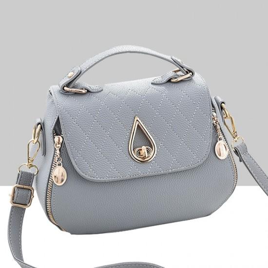 Patchwork Grey Side Zips Shoulder Handbag WB-63GR image