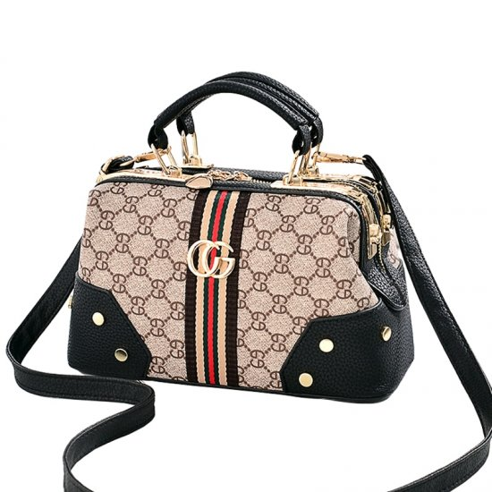 Designer Print Black Contrast Shoulder Handbag WB-64BK image
