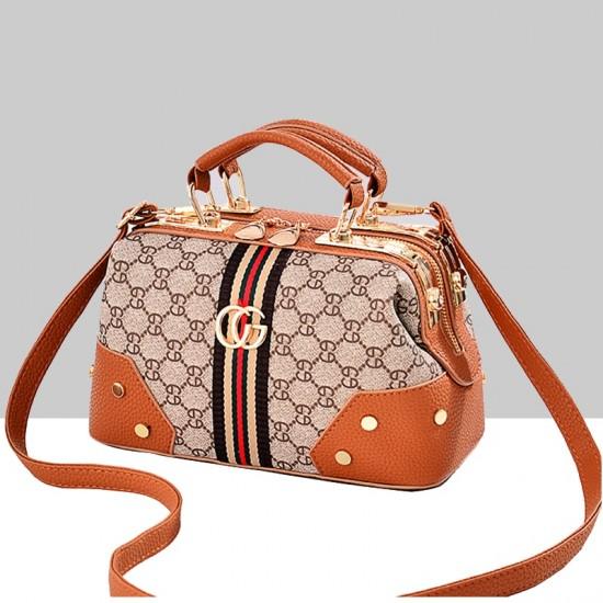 Designer Print Orange Contrast Shoulder Handbag WB-64OR image
