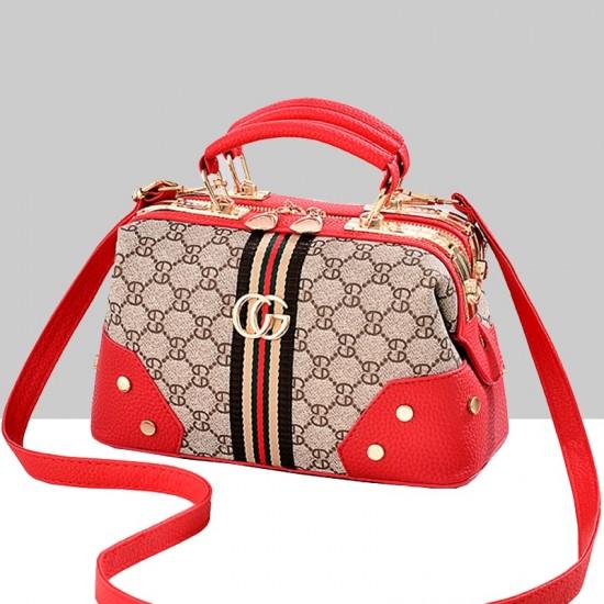 Designer Print Black Contrast Shoulder Handbag WB-64RD image