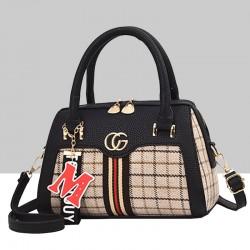 Designer Pattern Black Contrast Shoulder Handbag WB-66BK
