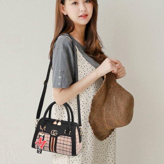 Designer Pattern Black Contrast Shoulder Handbag WB-66BK |image