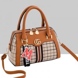 Designer Pattern Brown Contrast Shoulder Handbag WB-66BR