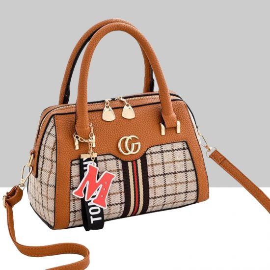 Designer Pattern Brown Contrast Shoulder Handbag WB-66BR |image