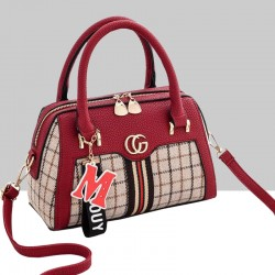 Designer Pattern Red Contrast Shoulder Handbag WB-66RD