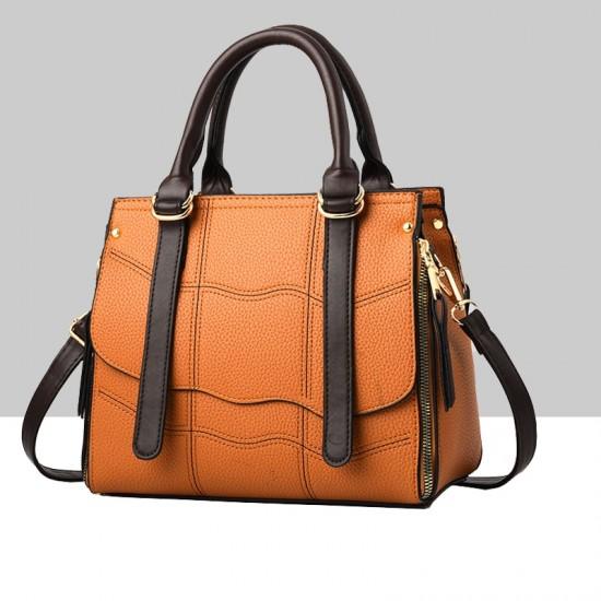 Orange Stitched Waves Pattern Shoulder Handbag WB-68OR |image
