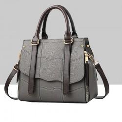 Grey Stitched Waves Pattern Shoulder Handbag WB-68GR
