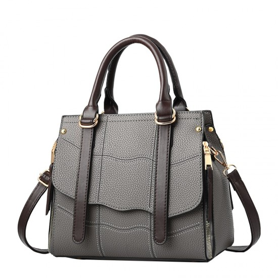 Grey Stitched Waves Pattern Shoulder Handbag WB-68GR |image