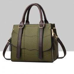 Green Stitched Waves Pattern Shoulder Handbag WB-68GN