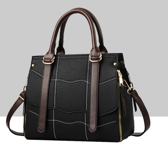 Black Stitching Waves Pattern Shoulder Handbag WB-68BK |image