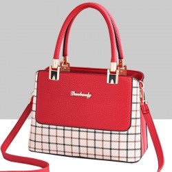 Checks Prints Red Contrast Shoulder Handbag WB-67RD