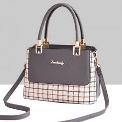 Checks Prints Grey Contrast Shoulder Handbag WB-67GR