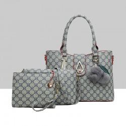 Designer Pattern Furry Ball Grey Three-Piece Handbag Set WB-75GR