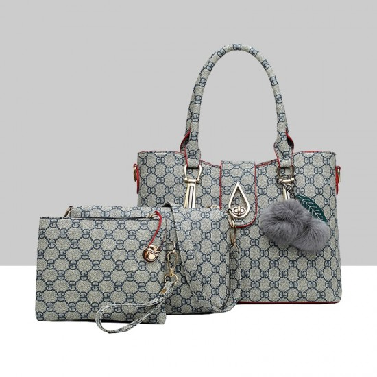 Designer Pattern Furry Ball Grey Three-Piece Handbag Set WB-75GR |image