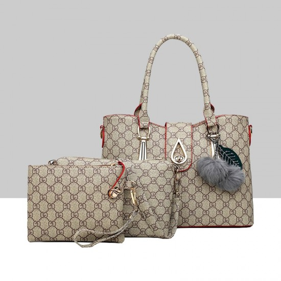 Designer Pattern Furry Ball Brown Three-Piece Handbag Set WB-75BR |image
