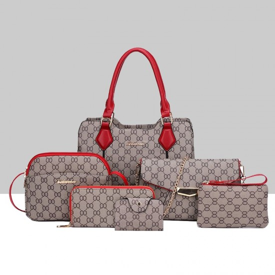 Designer Pattern Six-Pieces Set of Shoulder Handbags WB-74RD |image