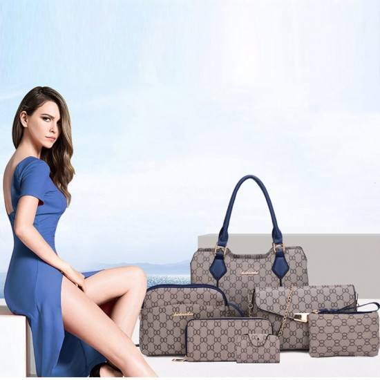 Designer Pattern Six-Pieces Set of Shoulder Handbags WB-74BK |image