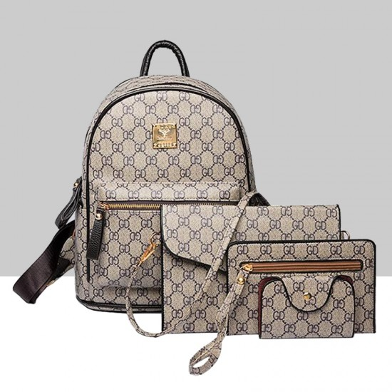 Designer Pattern Grey Four Piece Backpack & Handbag Set WB-73GR |image