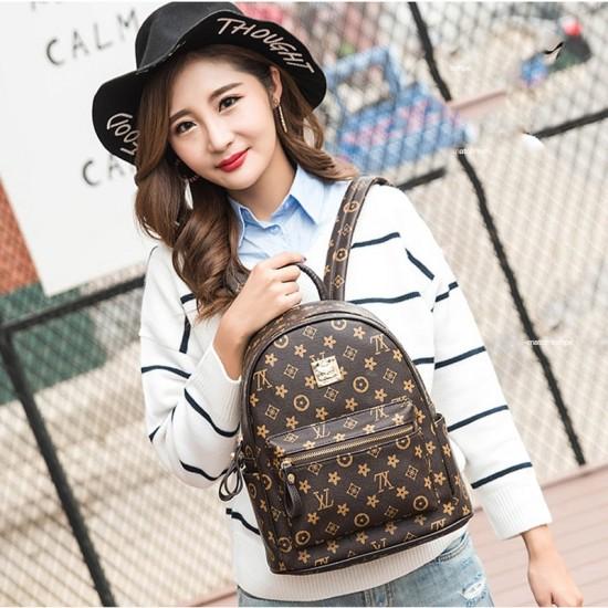 Designer Pattern Brown Four Piece Backpack & Handbag Set WB-73BR |image