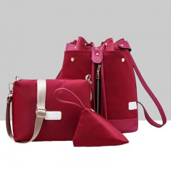 Trending Front Zip Red Backpack & Handbag Set WB-72RD