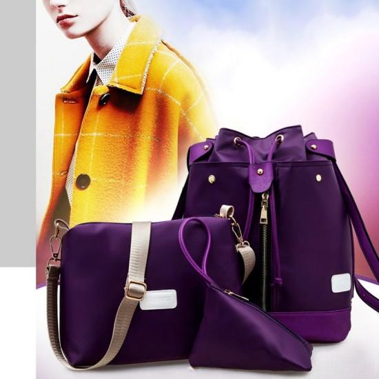 Trending Front Zip Purple Backpack & Handbag Set WB-72PR |image