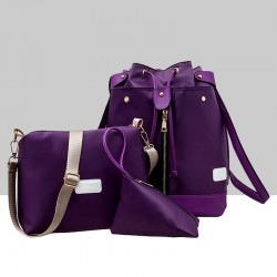 Trending Front Zip Purple Backpack & Handbag Set WB-72PR