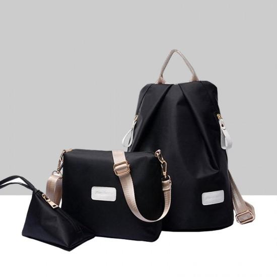 European Version Black Color Three Piece Backpack Handbag Set WB-71BK image
